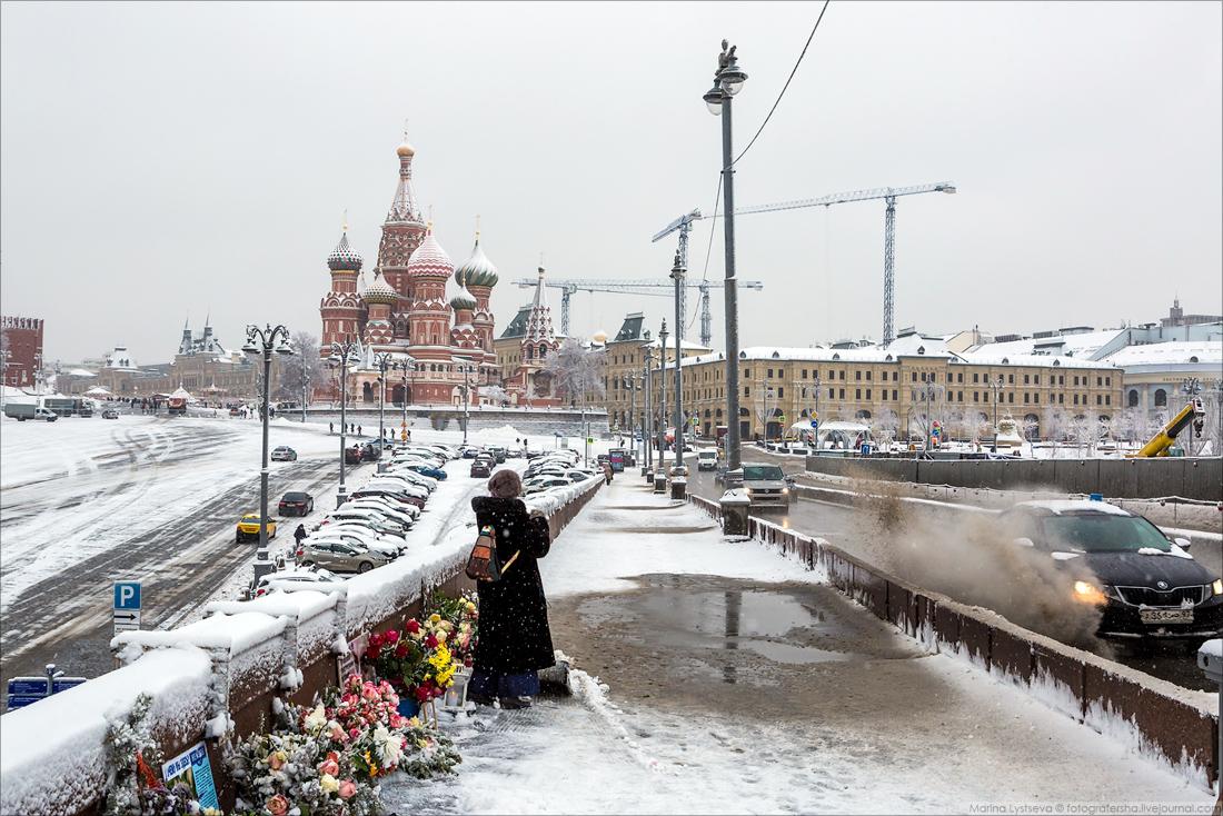 Фотопрогулка по Москве с мокрым снегом