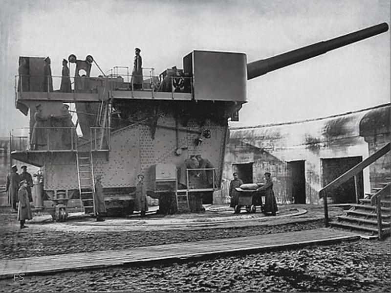 12-дм (305-мм) орудие открытой батареи форта «Красная Горка»