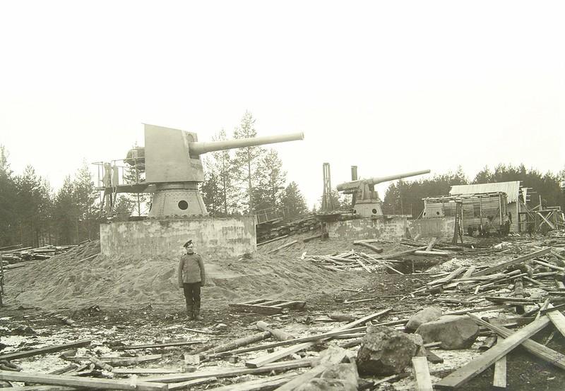 Строительство 6-дм батареи пушек Канэ. 1910 год.