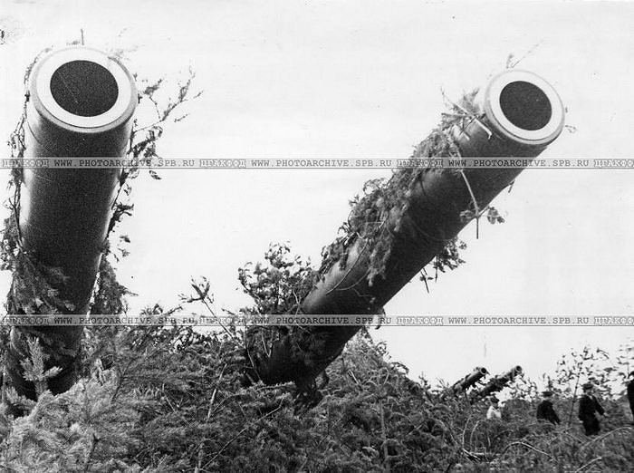 Маскировка орудия 311-й батареи