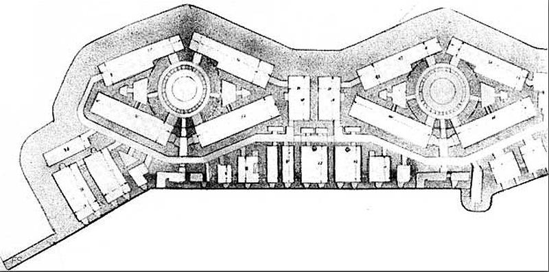 План башенной 12-дм (305-мм) батареи форта «Красная Горка»