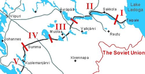 Схема «Линии Маннергейма» с разделением на сектора