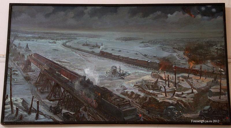 Свайно-ледовая железнодорожная переправа через Неву (после прорыва блокады в январе 1943 г.)