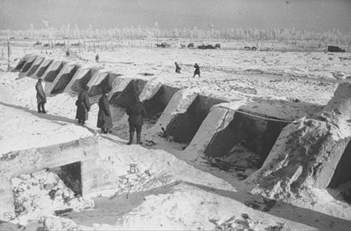 Общий вид укреплений финнов на высоте 65,5. 1940г.