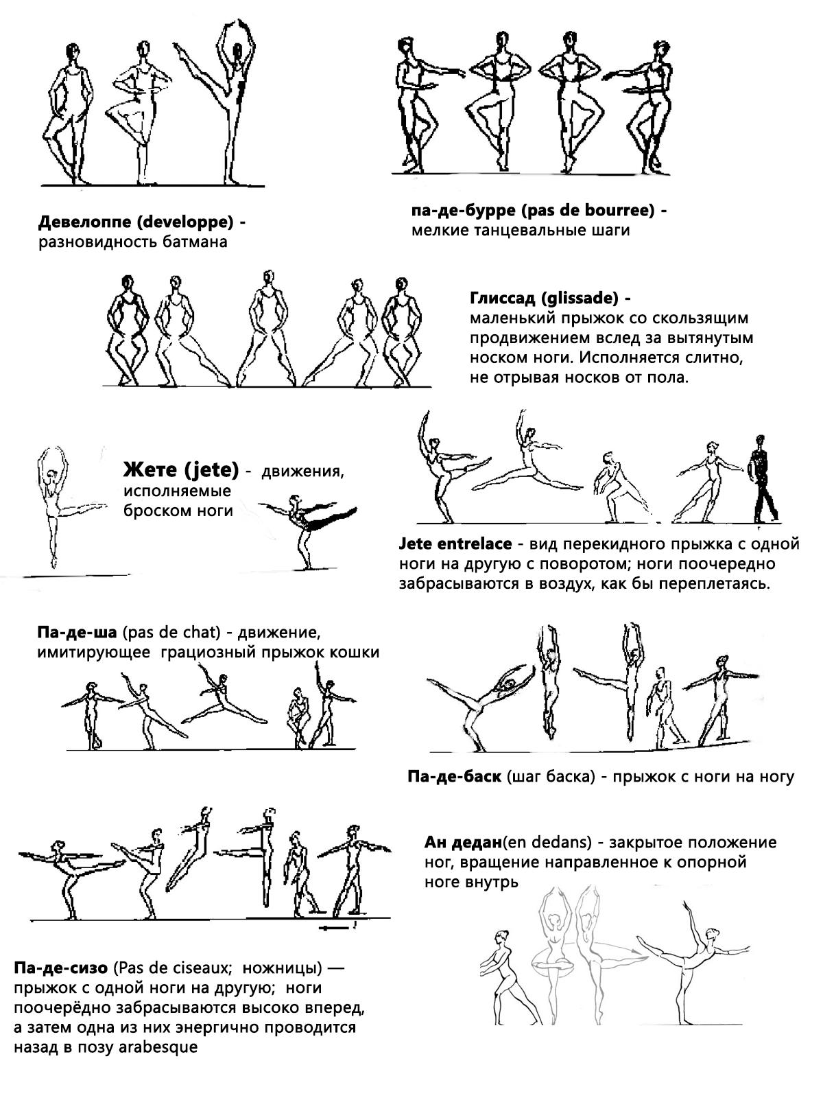 Движения в балете их название и картинки