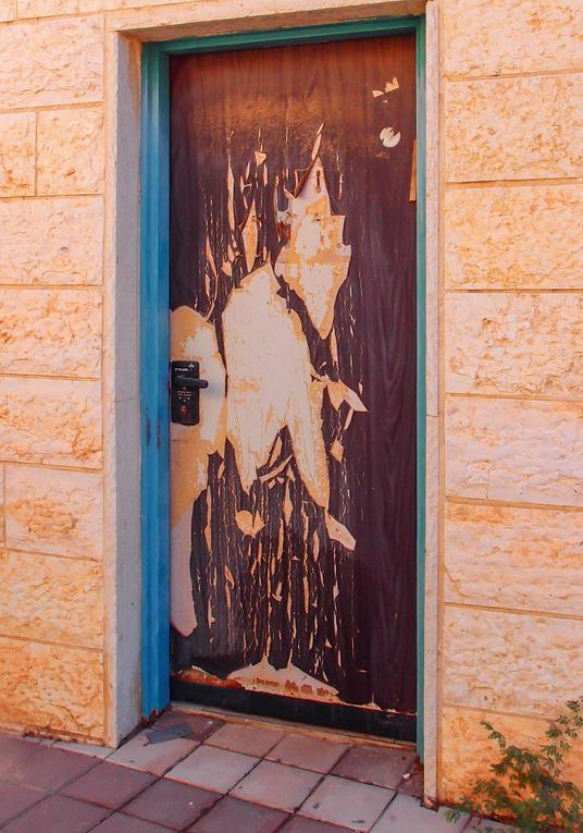 Дверь сарая чем-то напоминает котика, задравшего мордочку