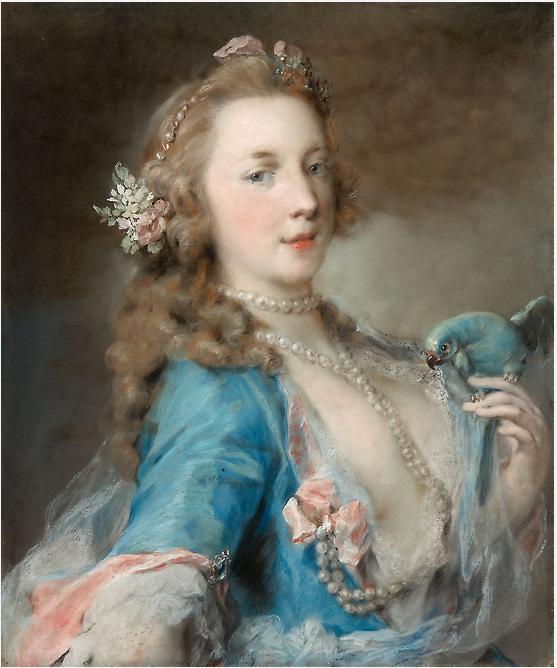 Барышня с попугаем. 1730. Розальба Каррьера. Пастель на голубой бумаге, наклеенной на ламинированный картон, размеры 600 × 500 мм.. Коллекция Регенштейна