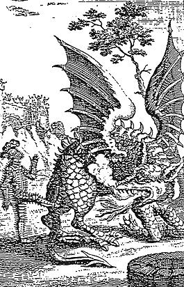 Woodblock print of More kicking the Wantley Dragon.