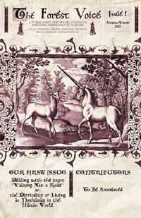 Magazine cover adorned with an old-fashioned illustration of a stag and a unicorn.