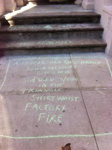 Steps with chalked epitaph