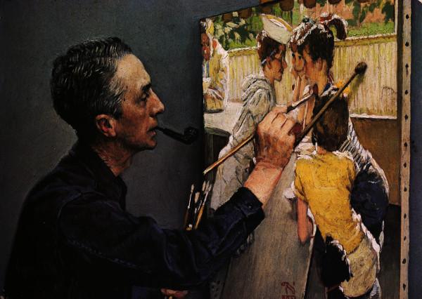 1352743701-1953--norman-rockwell---portrait-de-norman-rockwell-peignant-le-bar-des-jeunes