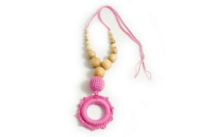 Слингобусы розовые с подвеской-кольцом
