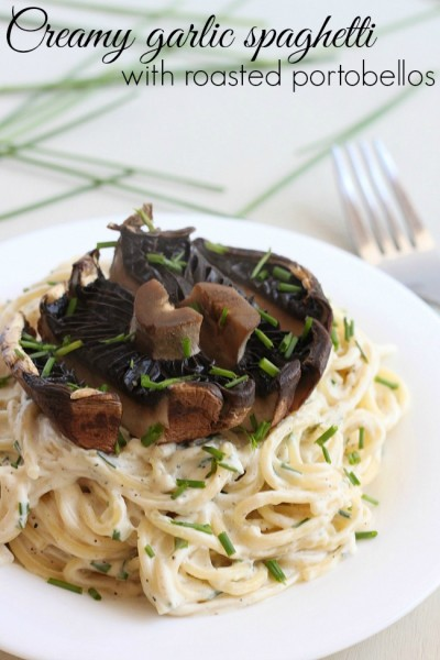 Creamy garlic spaghetti with roasted portobellos 6
