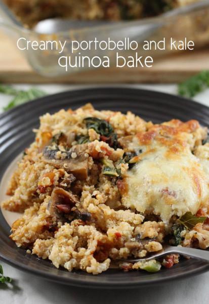 Creamy portobello kale quinoa bake 9