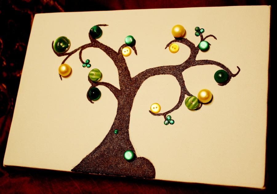 Убирать, дерево из пуговиц открытка