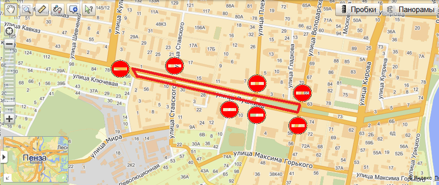 Схема перекрытия движения транспорта на 26 мая