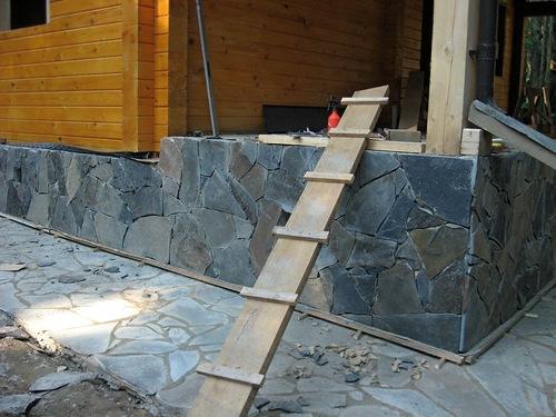 облицовка фундамента природным камнем