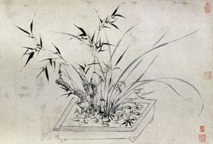 Орхидея, бамбук, сосна и слива