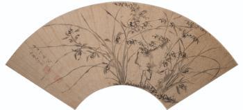 Веер: Бамбук, камни и орхидеи