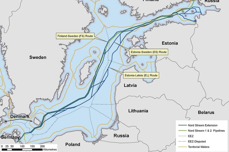 Северный поток 2 карта Швеция Дания Финляндия Россия Германий исключительная экономическая зона море маршрут трубы