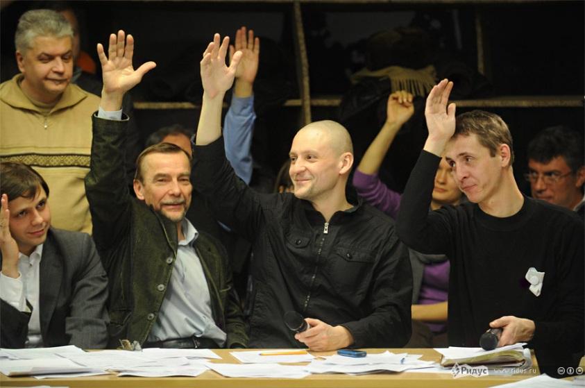 Слева-направо: Клычков (КПРФ), Лев Пономарев («Солидарность»), Удальцов («Левый фронт»), Бакиров («Белая лента»)