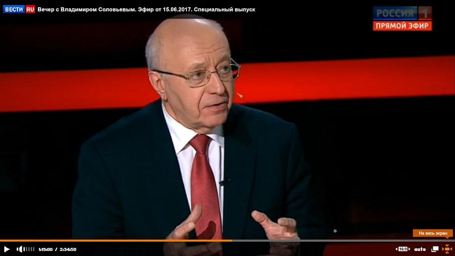 Сегодня в 22:00 Сергей Кургинян в программе «Воскресный вечер с Владимиром Соловьевым»