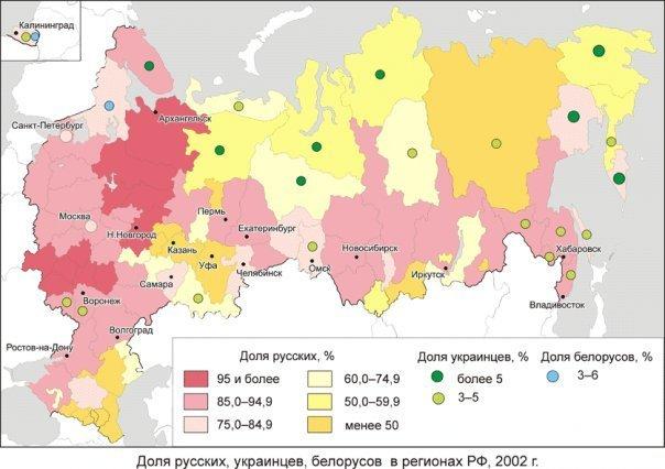 Доля русских украинцев белоруссов в регионах России