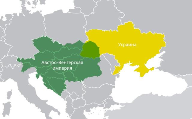Карта Австро-Венгерской империи и Украины
