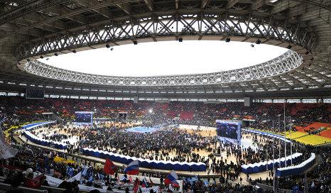 митинг за Путина 23 февраля Лужники