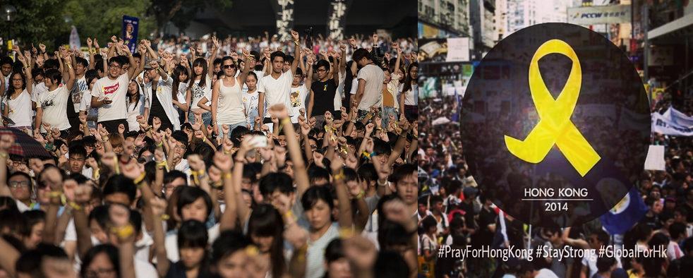Майдан в Гонконге Китай Оккупай централ желтая лента на черном фоне