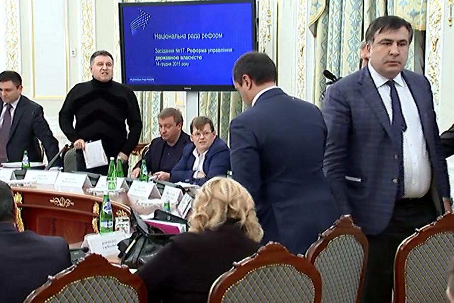 Аваков Саакашвили видео драка Украина Киев