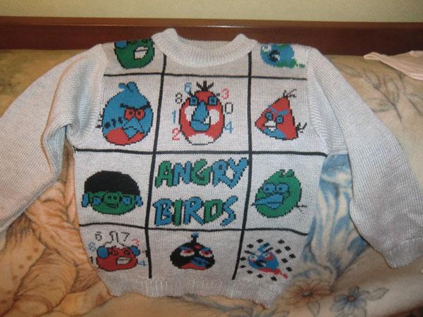 свитер с птичками