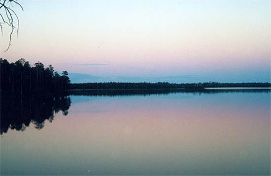 розово-голубой закат