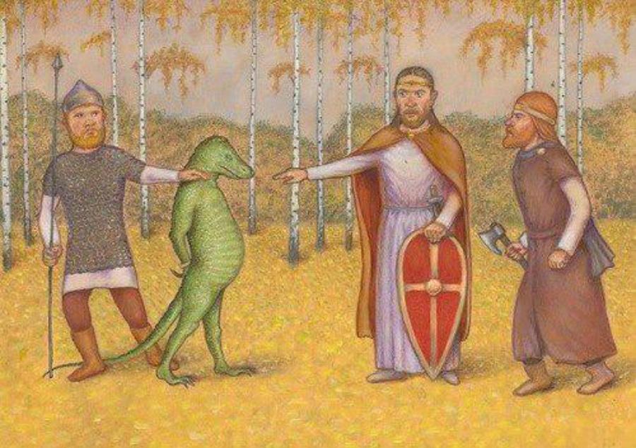 Русские витязи допрашивают рептилоида. Холст. Масло. Государственная галерея города Зеленогорбье.