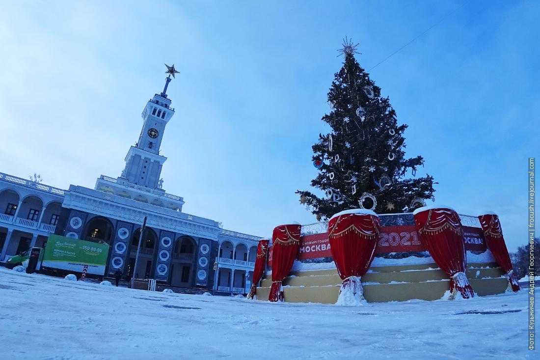 новогодняя елка на площади перед зданием северного речного вокзала