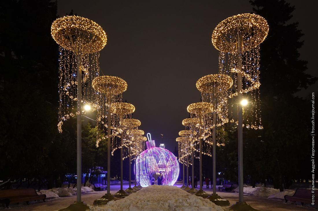 главная аллея парка северного речного вокзала зимой