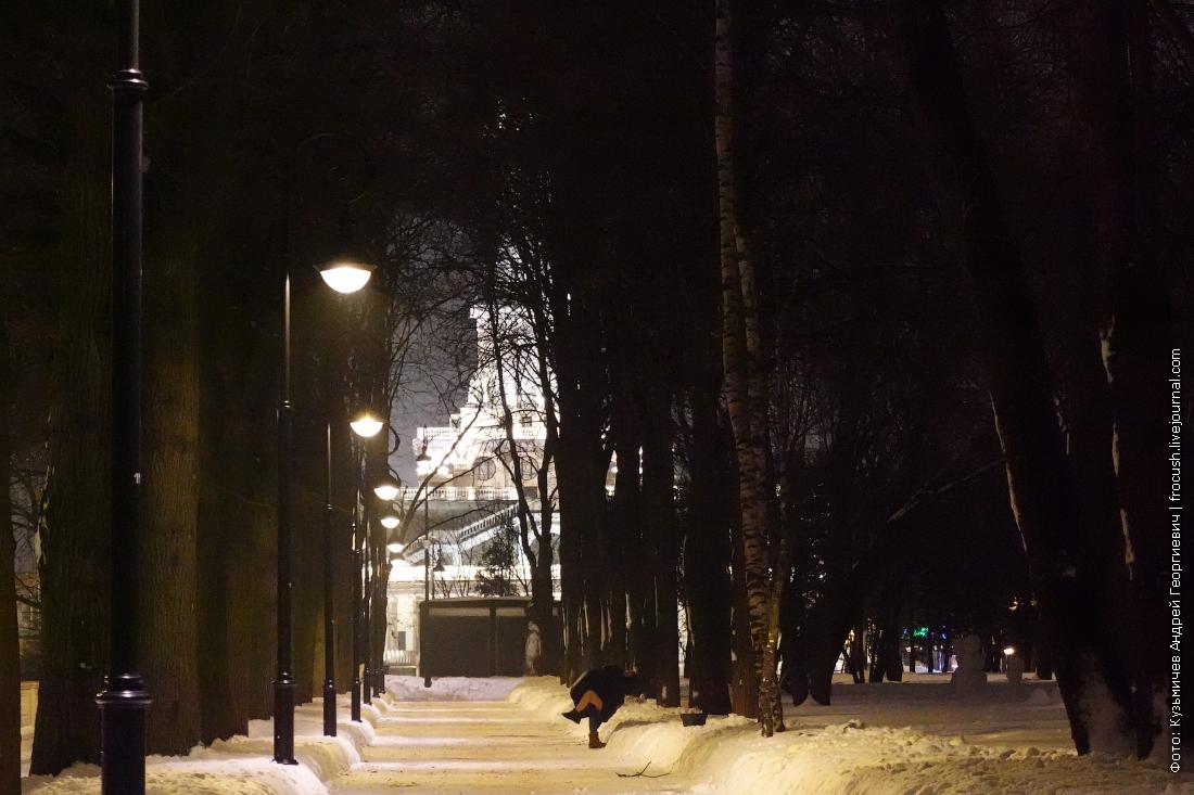 зимние дорожки в парке северного речного вокзала