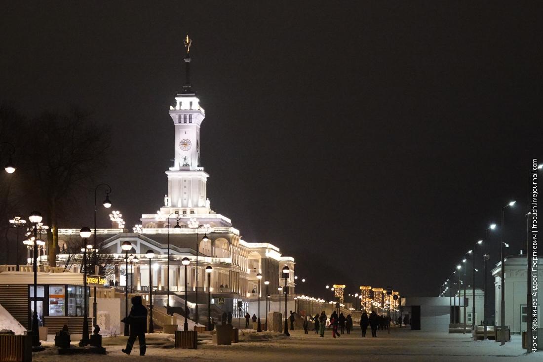 ночная набережная северного речного вокзала москвы зима