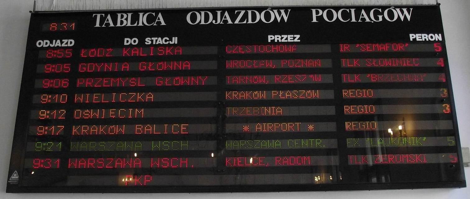 Польское расписание отъезжающих поездов