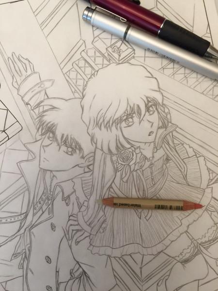 ShinichiShiho Vampire Knight pencil sketch