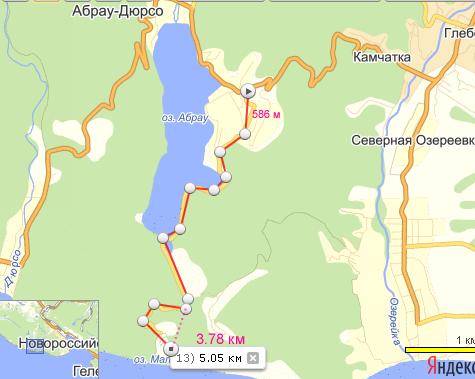 расстояние от Лиманчика до Абрау