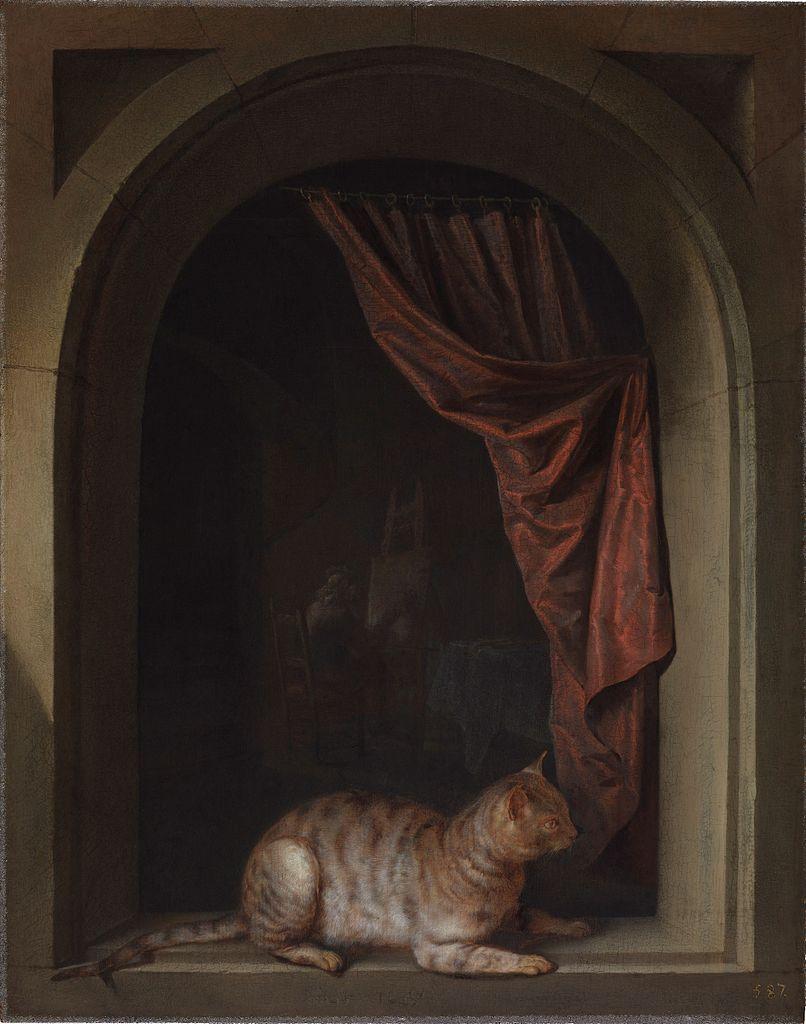 «Кошка, присевшая на подоконник в мастерской художника»/ Геррит Дау