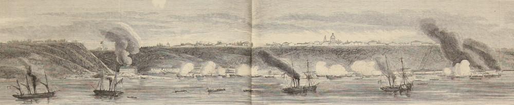 Фрагмент панорамной гравюры с изображением обстрела Таганрога англо-французской «летучей эскадрой». Из личного архива автора.