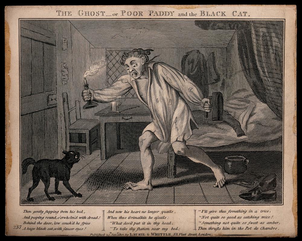 «Привидение» или «Бедный ирландец и черная кошка», гравюра 1801 года