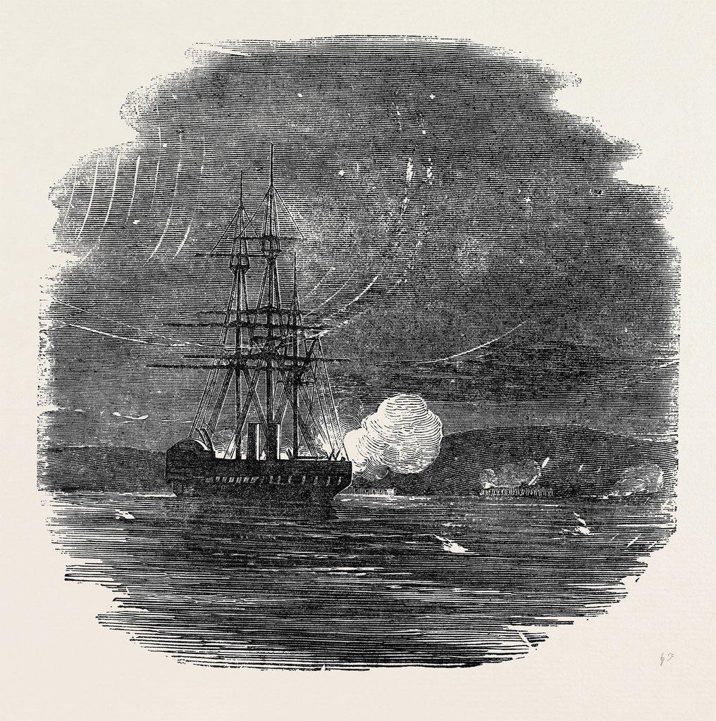 Колесный фрегат «Сайдон» обстреливает Керчь (клоуз-ап)