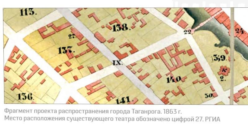 Фрагмент плана Таганрога 1863 г. с точным указанием местоположения театра.