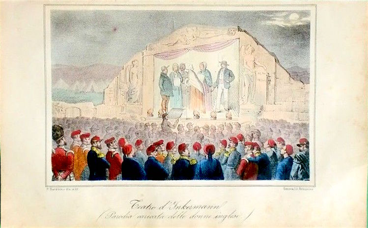 Английский театр под Севастополем. Генуэзская литография 1855 г.
