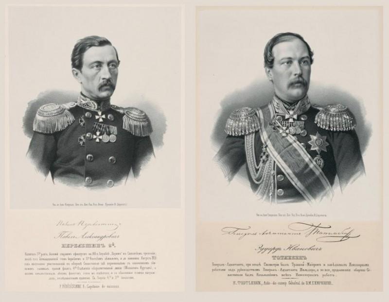 Севастопольские герои: градоначальник Таганрога контр-адмирал Перелешин и генерал-адъютант Тотлебен