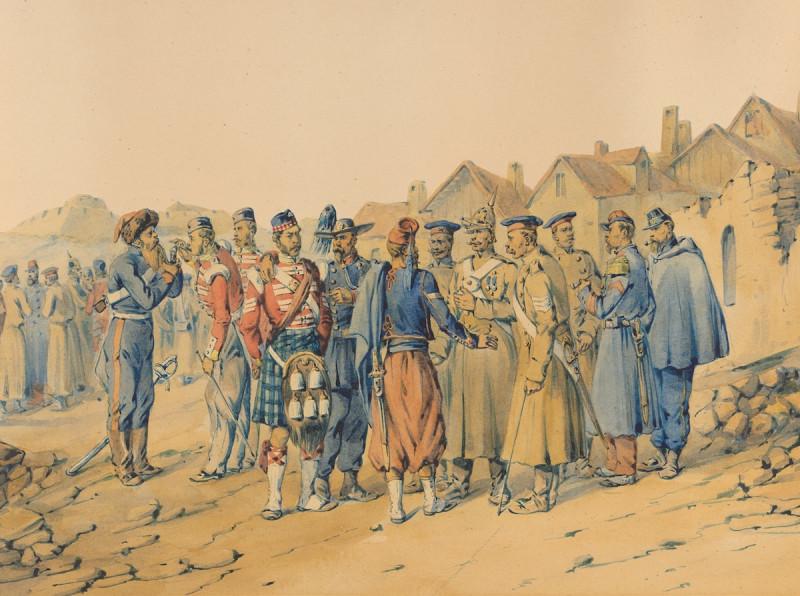 Крым, 1856 г. Встреча бывших противников во время перемирия. Библиотека Брауновского университета.