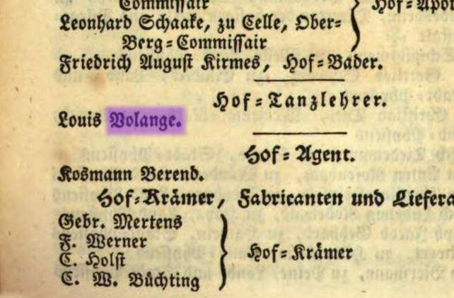 Луи Воланж – придворный танцмейстер / Адресный календарь Ганноверского королевства за 1835 год